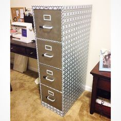After 2 weekends I've finally finished up-cycling this filing cabinet for my work space! #stainlesssteel #marthastewart #stenciledbyhand #dearborndrive #upcycled #officespace #sewingmachine #etsy #etsystore #beautifulstorage #hon #newlook