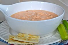 Buffalo Chicken Wing Soup - this was so delicious!!!  Made it for dinner last night and my husband LOVED it.  I added about 4 oz of velveeta.  SO good.