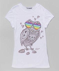 Look at this #zulilyfind! White & Gray Owl Tee - Girls #zulilyfinds