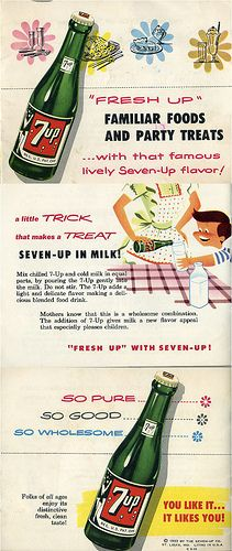 A vintage 7-UP recipe guide. Good clip art and some interesting concoctions inside.  Ham basted with 7-UP. 7-UP salad. 7-UP dressing. 7-UP cake with 7-UP icing. 7-UP in gelatin. 7-UP parfait pie. 7-UP pie crust. 7-UP stewed dried fruits. 7-UP shebert. 7-UP fruit punch. 7-UP ice block. 7-UP in milk (as depicted). 7-UP ice cream float. #7UPupgrade #contest
