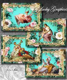French Floral - Digital Collage Sheet  - Greeting Card Digital Image - Scrapbooking Supplies Printable Download  134