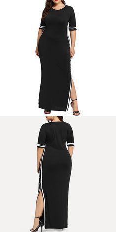 Vetement femme 2018 women fashion sheath long dress casual ladies girls  slim stripe split straight dresses e02bf3fdbfd0
