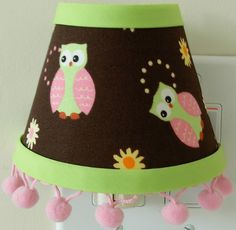 Child Night Light...Owls and Flowers...Pink Brown and Lime Green...Child Bedroom Decor. $15.99, via Etsy.