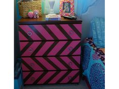 This clever paint job gives a fun chevron pattern to the front of the dresser. You can customize your colors and your drawer pulls to fit your aesthetic.