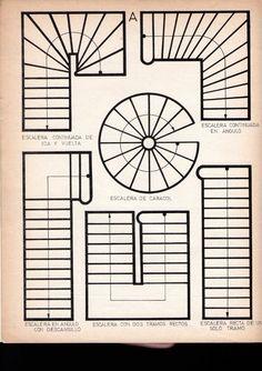 Escaleras formas y trazado. Stair Railing Design, Home Stairs Design, Stair Handrail, Interior Stairs, Modern House Design, Spiral Staircase Dimensions, Spiral Staircase Plan, Stair Plan, Stair Elevator