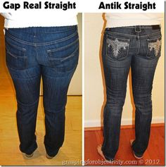 Same girl, same day, showing about 30 different pairs of jeans to help illustrate the importance of a good cut/fit/style. What to look for in pocket placement, flare, waist, etc. to best compliment your body. Even if you dont wear gap or old navy jeans....tips on helping buy the right fit.