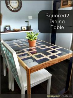 DIY Lattice Inspired Modern Squared2 Dining Table | Sunnyside Upstairs  Featured On Remodelaholic.com