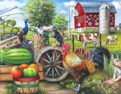 Farm Life is a 500 piece jigsaw puzzle from SunsOut. Puzzle measures x when complete. Artwork by Brooke FaulderSunsOut puzzles are made in the USAEco-friendly soy-based inksRecycled boardsNot sold in mass-market stores Rooster Painting, Cow Painting, Rooster Art, Chicken Painting, Chicken Art, Decoupage, Sunsout Puzzles, Arte Country, Country Life