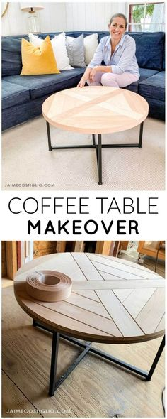 A DIY tutorial for a coffee table makeover using plywood scraps. Make your coffee table beautiful with just a few steps. #makeover #coffeetable Family Room Furniture, Diy Home Furniture, Diy Furniture Projects, Woodworking Projects Diy, Affordable Furniture, Refurbished Furniture, Upcycled Furniture, Furniture Makeover, Woodworking Plans