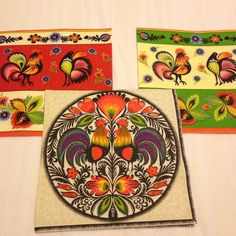 Napkin for Decoupage Polish style ethnic Rooster flowers set of 3