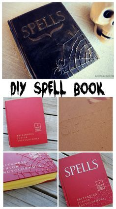 Diy Spell book - A girl and a glue gun diy halloween spell book made with hot glue, paint and chipboard Need excellent hints regarding arts and crafts? Go to our great website! Diy Halloween Spell Book, Casa Halloween, Halloween Spells, Theme Halloween, Halloween Tags, Holidays Halloween, Halloween Crafts, Diy Halloween Room Decorations, Scary Decorations
