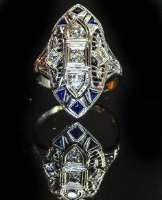 Superlative Antique Art Deco Diamond and Sapphire Ring by BellmansOnlineStore