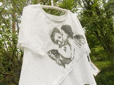 White Unique Angel Blouse made of Recycled Materials (size L/XL)
