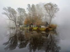Fog enshrouds a lake and village in Szodliget, Hungary, in this National Geographic Photo of the Day from our Your Shot community. of the day photography Misty Lake Image, Hungary--National Geographic Photo of the Day Cool Pictures, Cool Photos, Interesting Photos, Magic Places, Misty Day, Village Photos, Concours Photo, Jolie Photo, Vintage Travel Posters