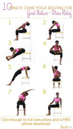 Asana 10 Minute Chair Yoga Routine for Good Posture and Stress Relief Once youre done with this routine, youll feel some of the pent up stress in your muscles from sitting down melt away and youll be ready get some more work done! Click through for a FREE Yoga Beginners, Workout For Beginners, Beginner Yoga Workout, Yoga Pilates, Yoga Moves, Yoga Exercises, Chair Exercises, Floor Exercises, Posture Stretches