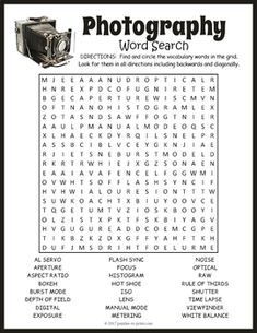 Your students will enjoy looking for all of the fun photography vocabulary words hidden in this puzzle worksheet. The words are hidden in all directions making this a challenging word search. A great activity for early finishers or just for something fun to take home and enjoy.