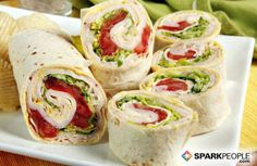 Turkey Wraps: Start with a whole-grain wrap, then spread on your favorite low-fat condiments. Layer on lean deli meat, maybe a slice of cheese, and plenty of veggies for crunch: lettuce, cucumber sticks, carrots, sprouts, peppers, or onions. Roll it up and eat. Tip: If you're eating on the go, wrap in foil for a mess-free meal. If you're dining at home, slice into pinwheels for a fun presentation. (Easy No-Cook Meals for Summer | SparkPeople)