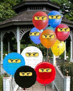 ninja ninjago printable balloon stickers by fabricadepapel on Etsy
