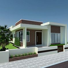 home design by egmdesigns Single Floor House Design, Modern Small House Design, Dream Home Design, Flat Roof House, Facade House, Villa Design, Patio Design, Single Storey House Plans, House Construction Plan