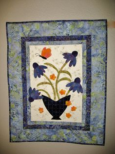 Coneflower Wall Hanging quilted Wall Art in by PicketFenceFabric, $48.95