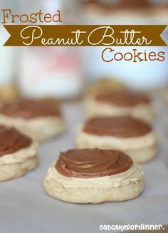Frosted Peanut Butter Cookies from Eat Cake for Dinner on chef-in-training.com ...These are a Peanut-Butter-Lover's DREAM! SO good! #recipe #cookie