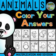 Very high interest and wonderful for small group, RTi, tutoring, morning work, seat work, centers, you name it! Ten Awesome Animals Color Your Answers Worksheets for Mixed Multiplication and Mixed Division, Color By Code Bundle with Ten Color Coded Answer Keys. This Adorable  Mixed Multiplication and Mixed Division Resource has * Five Mixed Multiplication pages. * Five Mixed Division pages. and * Ten Color Coded Answer Keys.  #FernSmithsClassroomIdeas
