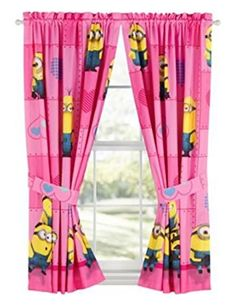 KIDS GIRLS BOYS WINDOW CURTAINS DRAPESMULTIPLE DISNEY CHARACTERSTV CHARACTERS despicable me minions pink *** Check this awesome product by going to the link at the image.
