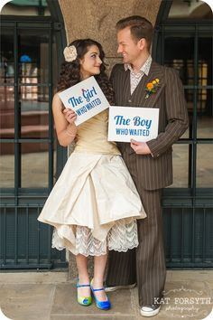 Doctor Who geek wedding  - The Boy/girl who waited signs. This is too cute! I kinda got a little misty-eyed.