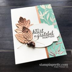 Create this card using the Beautiful Autumn Stamp Set and Stitched Leaves Dies. Grateful Card by Mary Fish, Stampin\' Pretty