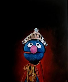 My favorite of all.  Such a dignified portrait of our stoic hero.  :)  I'd just about give my left arm to have this original painting (prints are no longer available).  (- Laura)  Portrait of Super Grover by James Hance