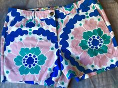 "NEW BODEN Flat Front Wild Floral Short Shorts US Size 10 35"" Wst Blue Pink 10"" R  