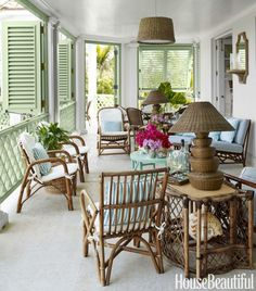 Relaxed Veranda Rattan furniture creates a relaxed living room on the veranda of Amanda Lindroth's Bahamas house. Shutters and railings are painted Southfield Green by Benjamin Moore in Aura Exterior. Lamps, Circa Who. Outdoor Rooms, Outdoor Living, Outdoor Decor, Indoor Outdoor, Outdoor Patios, Outdoor Kitchens, Outdoor Areas, Bahamas House, Interior Exterior
