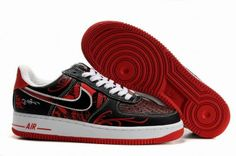 £85.00 Nike Air Force 1 Low Leather Men's Shoes Black Red