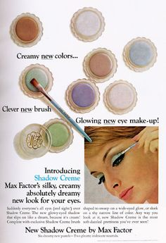 Cream eye shadow ad from Max Factor, 1960s