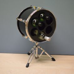 The newest addition to our collection of upcycled drum furniture is this wine rack made from a Tom Tom drum and a snare drum stand.  Buy online at www.rockterrace.co.uk