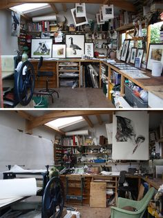 Printmaker Sue Brown's studio   http://suebrownprintmaker.blogspot.ca/2011/06/day-two-in-house.html