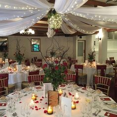 This enchanted forest theme reception was spectacular Burgundy Room, Enchanted Forest Theme, Forest Wedding, Reception Rooms, Presentation, Cabin, Warm, Table Decorations, Home Decor