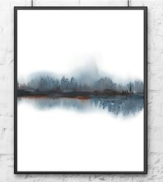 Landscape Abstract Watercolor Painting,Grey Brown White Black,Art for Him,Print Art Landscape Wall Art,Modern Painting,Reflection Art,Nature