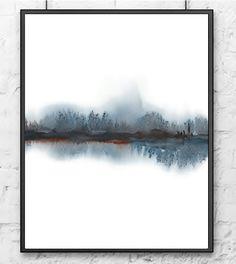 Paysage peinture aquarelle abstraite gris brun par NancyKnightArt