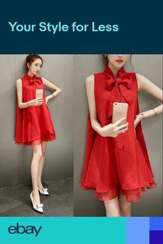 8ceaa1c0faf Fashion Korean Womens Bow Tie Chiffon Sleeveless Casual Loose Organza Mini  Dress