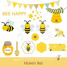 Big Sale  Honey Bee Clip Art  Personal & by ilovesosomuch on Etsy