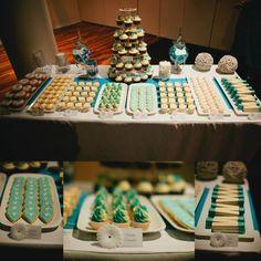 Aqua & white engagement party dessert table