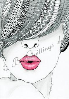 Original Zentangle Art Kiss Me Print A4/A3 size by BestQuillings