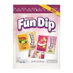 Fun Dip Powdered Candy is even more fun with these exotic flavors. The dipping stick is edible, as usual, but even those have fun new flavors. The dipper that goes with the mango-lime powder is flavored like tamarind, while the dipper for watermelon cucumber is flavored with lime.