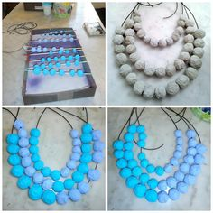 #Papermachenecklace by Egeo work in progress. Not finished... better the combination on the left photo or the right? Anyway I think I will continuos to decorate, when I'll have time...  I can't leave it so minimal!!! Emoticon smile Suggestions always very welcome!!! Thankssss Paola (Egeo)