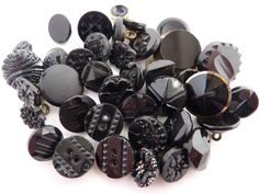 38 Antique & Vintage Black Glass Buttons - Small & Diminutive Sizes Collectable