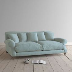 Large Crumpet in cloud blue vintage linen - Sofas Loaf Most Comfortable Sofa Bed, Comfy Sofa, Sofa Design, Pallet Furniture, Home Furniture, Space Furniture, Furniture Stores, Bedroom Furniture, Types Of Sofas