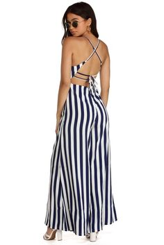 711231cdf45 FINAL SALE - Sassy Stripes Wide Leg Jumpsuit