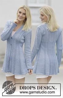 """Knitted DROPS jacket with lace pattern and shawl collar in """"Muskat"""". Size: S…"""