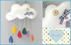 cloud mobile, nursery decor, babyroom, wall decor